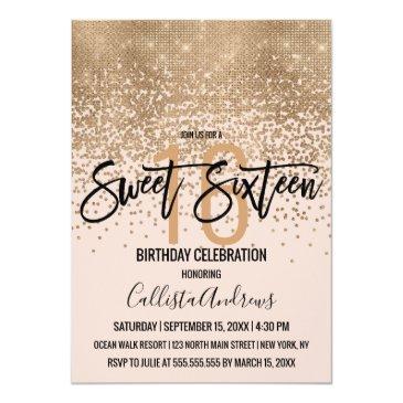 Small Elegant Blush Pink Gold Glitter Confetti Sweet 16 Invitation Front View