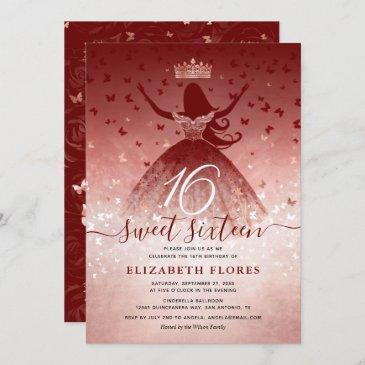 elegant burgundy flowers rose gold sweet 16 invitation