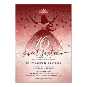 Small Elegant Burgundy Flowers Rose Gold Sweet 16 Invitation Front View
