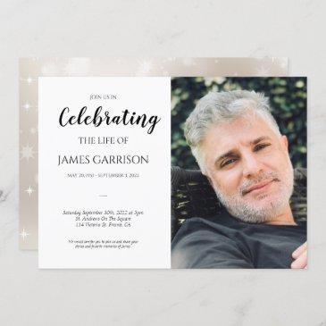 elegant celebration of life with photo funeral invitation