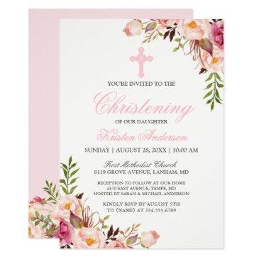 elegant chic pink floral christening baptism