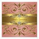 elegant coral and gold birthday party invitations