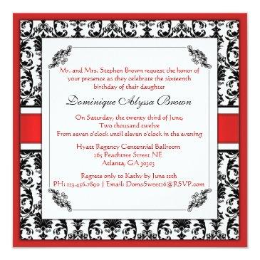 Small Elegant Damask Swirl Invite [red] Front View