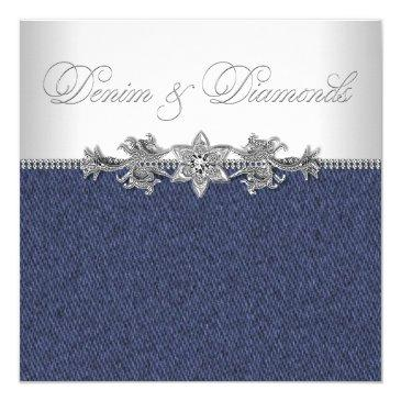 Small Elegant Denim And Diamonds Party Invitations Front View