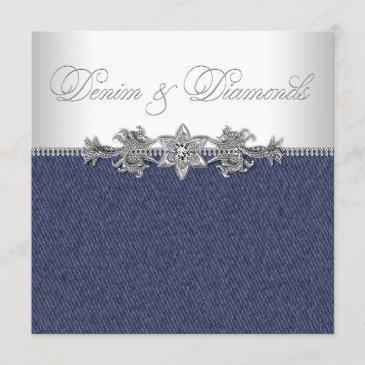 elegant denim and diamonds party invitation