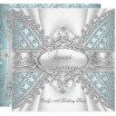 elegant diamond teal sweet 16 sixteen invitation