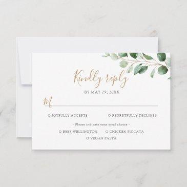 elegant eucalyptus greenery meal options rsvp invitations