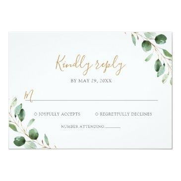 Small Elegant Eucalyptus Greenery Wedding Rsvp Invitations Front View