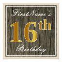 elegant, faux wood, faux gold 16th birthday + name invitation