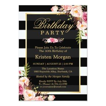 Small Elegant Floral Black White Stripes Birthday Party Invitations Front View