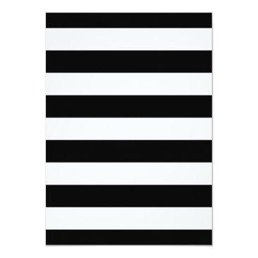 Small Elegant Floral Black White Stripes Birthday Party Invitations Back View