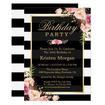 elegant floral black white stripes birthday party