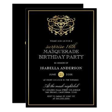 elegant gold & black masquerade surprise party invitations