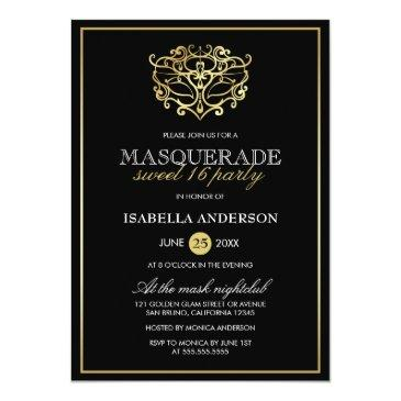 Small Elegant Gold & Black Masquerade Sweet 16 Party Invitations Front View