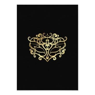 Small Elegant Gold & Black Masquerade Sweet 16 Party Invitations Back View
