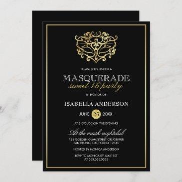 elegant gold & black masquerade sweet 16 party invitation