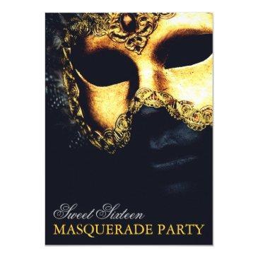 elegant gold black sweet 16 masquerade
