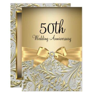 elegant gold bow floral swirl 50th anniversary invitations