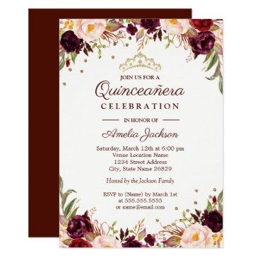 elegant gold burgundy floral quinceanera invitations