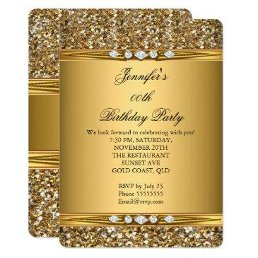 elegant gold glitter look diamond birthday party invitations