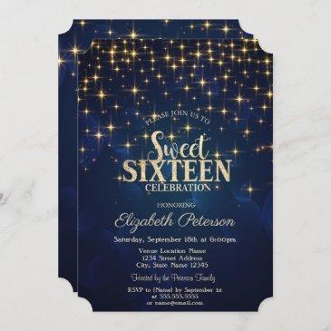 elegant gold stars navy blue sweet 16 invitation