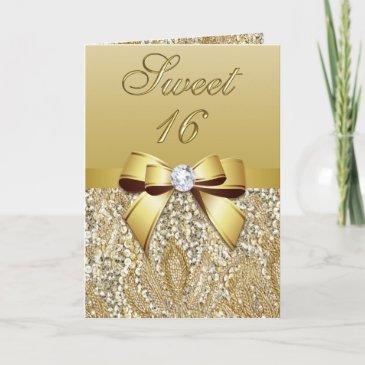 elegant gold sweet 16 party invitation