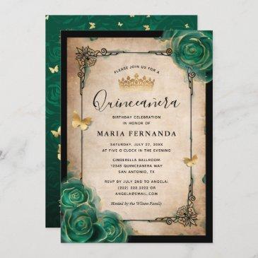 elegant green rose gold black quinceanera invitation