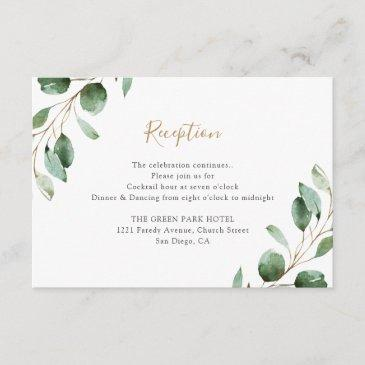 elegant greenery eucalyptus wedding reception enclosure invitations