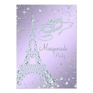 Small Elegant Lilac Purple Paris Masquerade Party Invitations Front View
