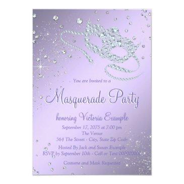 Small Elegant Lilac Purple Paris Masquerade Party Invitations Back View