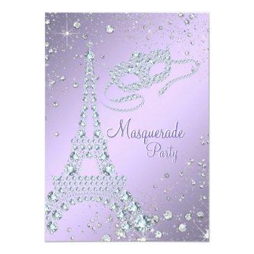 elegant lilac purple paris masquerade party invitation