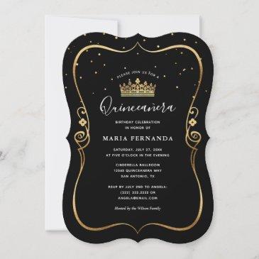 elegant luxurious gold and black quinceanera invitation