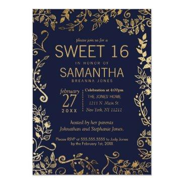 Small Elegant Navy Blue And Gold Floral Sweet 16 Invite Front View
