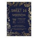 elegant navy blue and gold floral sweet 16 invite
