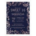 elegant navy blue rose gold floral sweet 16 invite