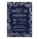 elegant navy blue silver floral glitter sweet 16 invitation