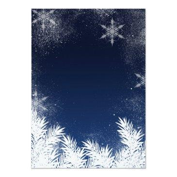 Small Elegant Navy Blue Snowflake Winter Sweet 16 Invitations Back View