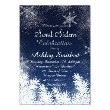 elegant navy blue snowflake winter sweet 16 invitations
