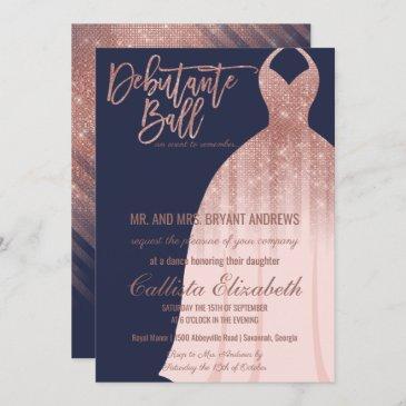 elegant navy rose gold glitter dress debutante invitation