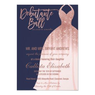 Small Elegant Navy Rose Gold Glitter Dress Debutante Invitation Front View