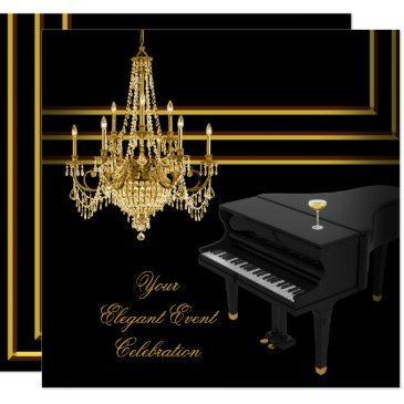elegant party piano chandelier gold champagne invitation