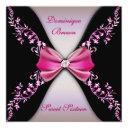elegant pink and black invite with diamond bow
