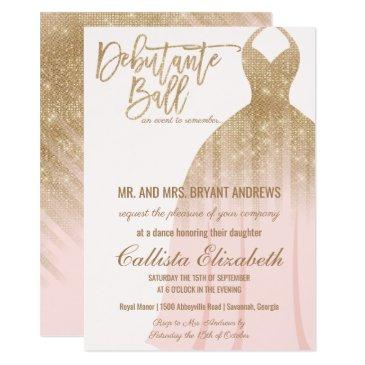 elegant pink gold glitter dress debutante dance invitation