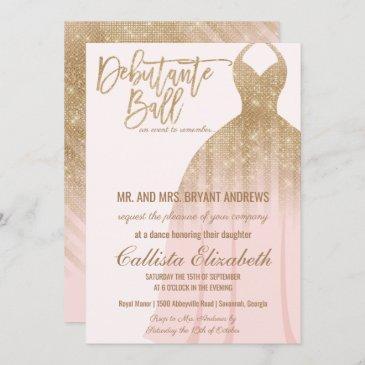 elegant pink gold glitter dress debutante dance invitation