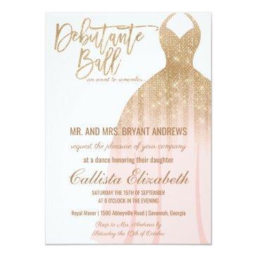 Small Elegant Pink Gold Glitter Dress Debutante Dance Invitation Front View