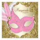 elegant pink gold mask masquerade party invitation