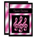 elegant, pretty pink treble clefs sweet 16 invitation