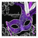 elegant purple and black masquerade party invitations