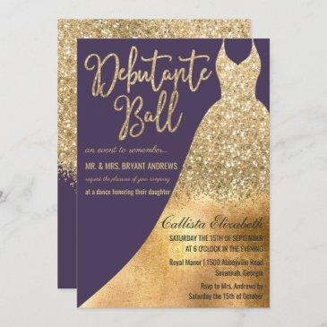 elegant purple gold glitter dress debutante dance invitation