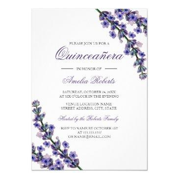 elegant purple lavender quinceanera invitation